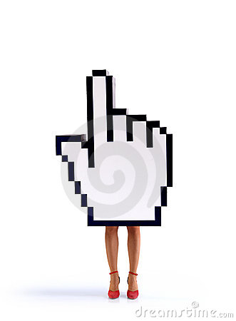 E-commerce hand cursor with female legs