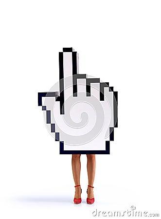 E-commerce hand cursor with female legs