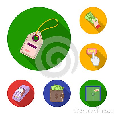 Free E-commerce, Purchase And Sale Flat Icons In Set Collection For Design. Trade And Finance Vector Symbol Stock Web Stock Photo - 115685620