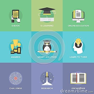 Free E-learning Flat Icons Set Stock Images - 46159964
