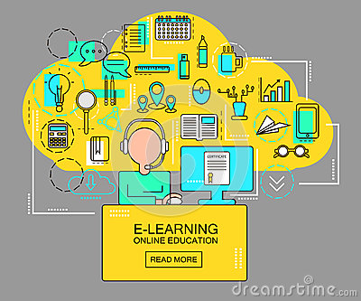 E-learning and online education concept with student with computer and study icons. Thin Line vector Illustration Vector Illustration