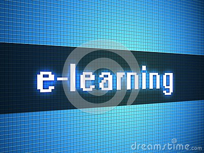 E-learning word on display