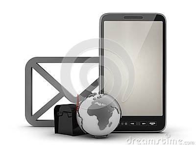 E-mail in cell phone concept illustration