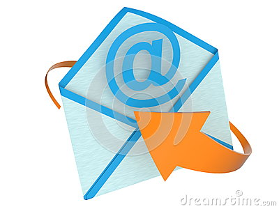 E-mail concept with envelope and arrow