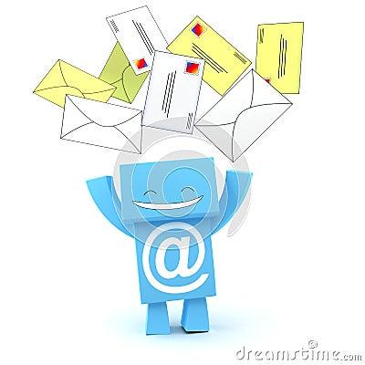 E-mail envelopes 3D character