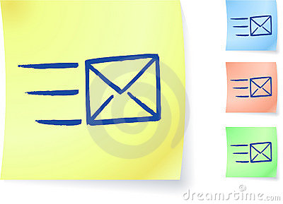 E-mail graphic on sticky note
