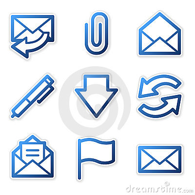 Free E-mail Icons, Blue Contour Stock Images - 5171694
