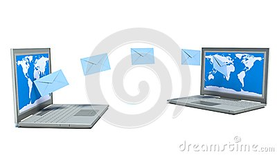 E - mail. Laptops. Objects on a white background