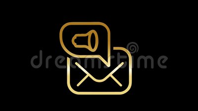 E-mail marketing luxe en gouden pictogrammen royalty-vrije illustratie