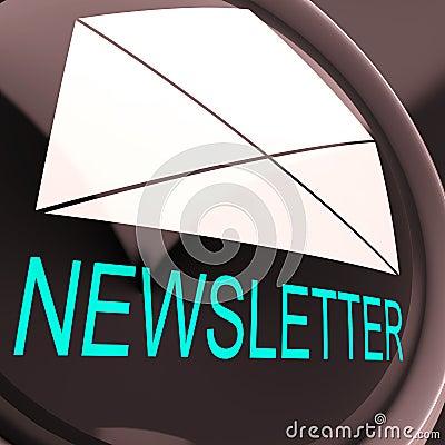 E-Mail-Newsletter zeigt das Zeichen, das elektronisch weltweit gesendet wird