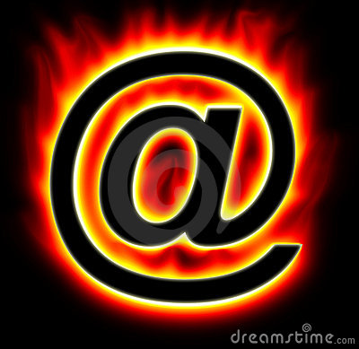 E-mail symbol burning with yellow red flame