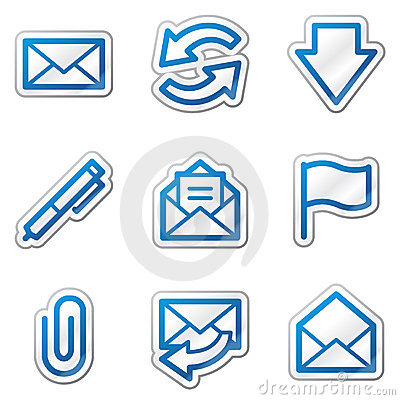 Free E-mail Web Icons, Blue Contour Sticker Series Royalty Free Stock Images - 11781819