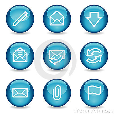 Free E-mail Web Icons, Blue Glossy Sphere Series Stock Images - 8578464