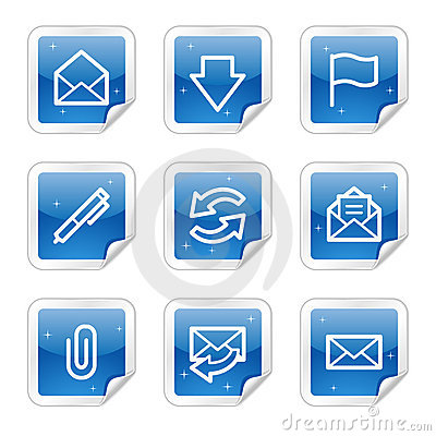Free E-mail Web Icons, Blue Glossy Sticker Series Stock Image - 8643081