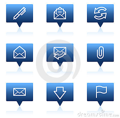 Free E-mail Web Icons, Blue Speech Bubbles Series Stock Images - 11819434