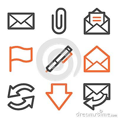 E-mail web icons, orange and gray contour series