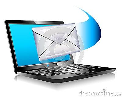 E-post som postar bärbar dator för värld SMS