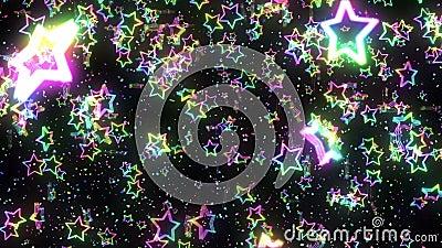 Étoile arc-en-ciel tombant Étoile brillante Multicolore Modèle arc-en-ciel abstrait Fond noir Animation de boucle illustration stock