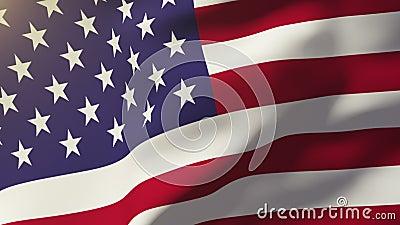Bandeira dos Estados Unidos acenando ao vento Estilo do sol nasce Ciclo de animação