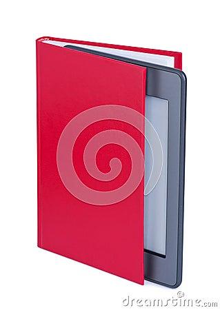E-reader in book.