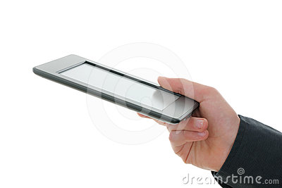 E-reader and hand