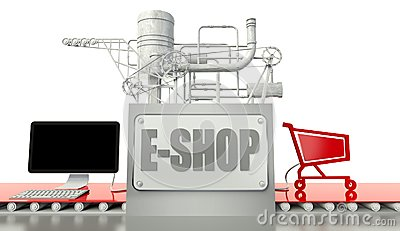 E-shop concept with computer and cart