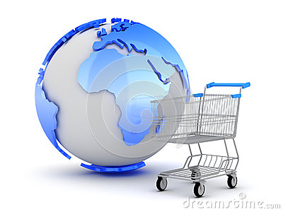 E-Shopping - Earth globe and shopping cart