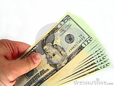 E.U. vinte contas & mão de dólar