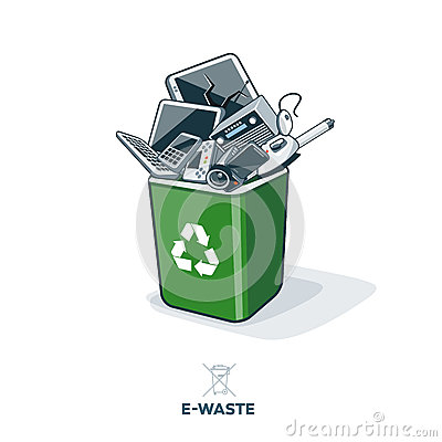 Free E-Waste In Recycling Bin Stock Photo - 54047610