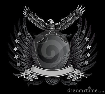 Free Eagle And Shield B&W Insignia Royalty Free Stock Photos - 7488338