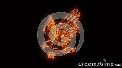 Eagle Animated Logo ardente alaranjado com revela o efeito ilustração stock