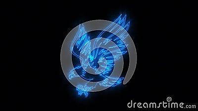 Eagle Animated Logo ardente azul com revela o efeito ilustração royalty free