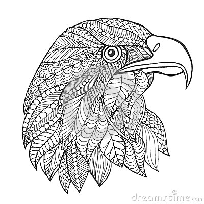 eagle head adult antistress coloring page stock vector