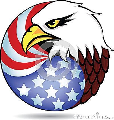 Eagle head and American flag