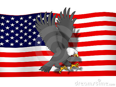 Eagle infront USA flag
