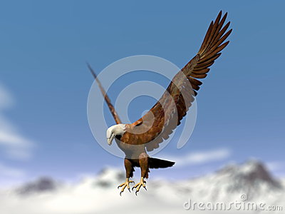 Eagle landing over snowy mountain - 3D render