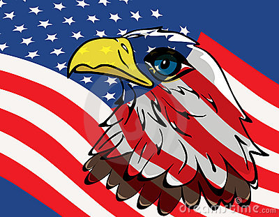 Eagle over USA flag