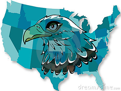 Eagle over USA map