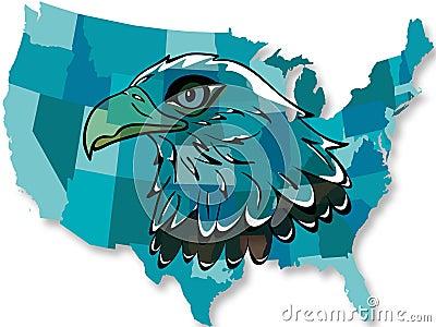 Eagle over USA map