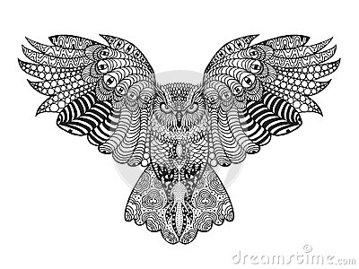 Eagle Owl Adult Antistress Coloring Page Stock Vector