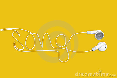 In ear headphones writing song on yellow