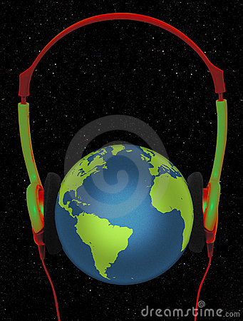 Ear plugged green and red on the earth