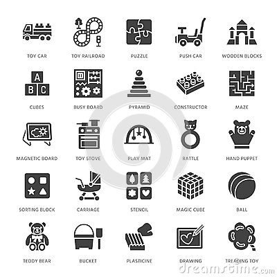 Free Early Development Baby Toys Flat Line Icons. Play Mat, Sorting Block, Busy Board, Toy Car, Kids Railroad, Maze Stock Image - 123721141