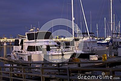 Early Evening Sailboat Yacht Ocean Harbor Marina