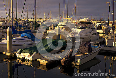 Early Evening Sailboat Yacht Ocean Harbor Marina