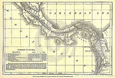 Early map of the Panama Canal.