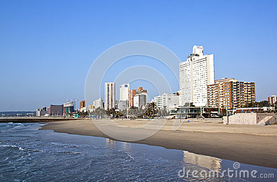 Early Morning Beach and Durban City Skyline Editorial Photography
