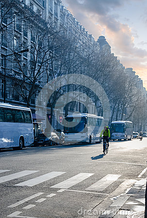 Early morning, first rays of the sun touch the streets of Paris Editorial Photo
