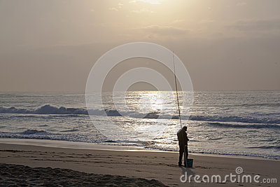 Early Morning Fisherman on Durban s Blue Lagoon Beach Editorial Stock Image