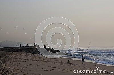 Early Morning Fishermen on Durban s Blue Lagoon Beach Editorial Photo